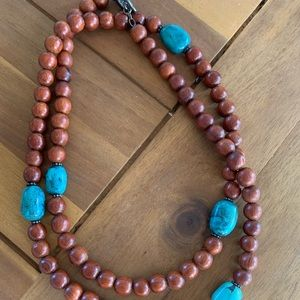Silpada Wood and Turquoise Long Necklace